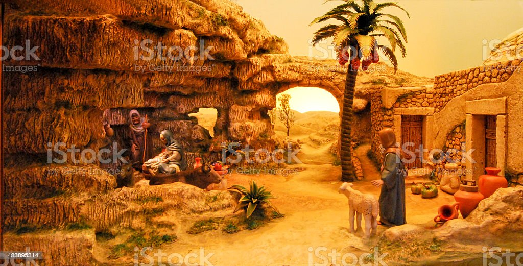Christmas Crib in an old Palestine village stock photo