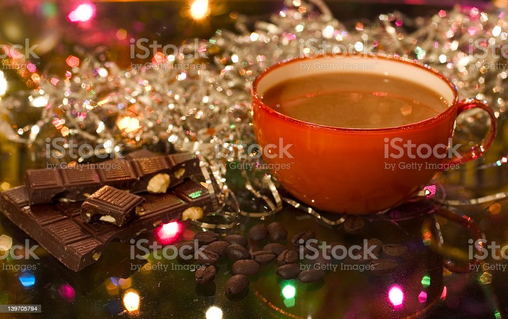 christmas (new year) cup of coffee royalty-free stock photo