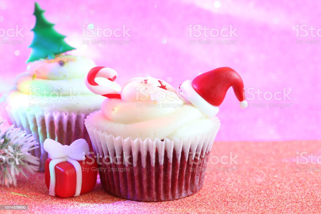 Christmas Cupcake Abstract Ornament Baking Concept On
