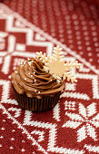 Christmas cupcake for the new year with snowflake