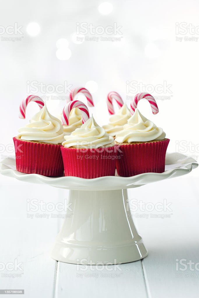 Christmas Cupcakes On A Cake Stand Stock Photo Istock