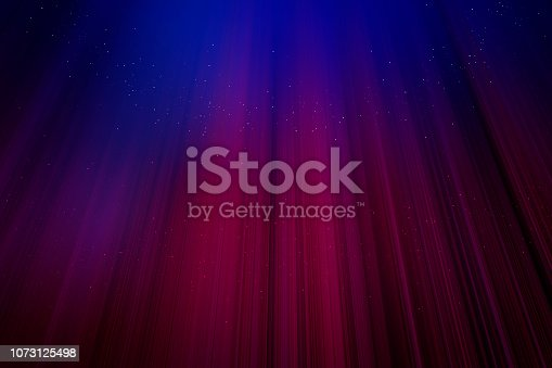 Red curtains with blue light background