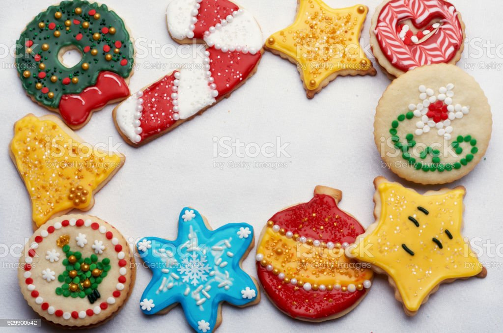 Christmas Cut Out Decorated Artistically With Colorful Icing and Decorations stock photo