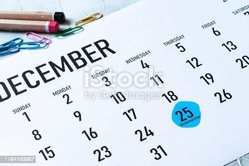 istock Christmas day 2019 marked on calendar 1164193667