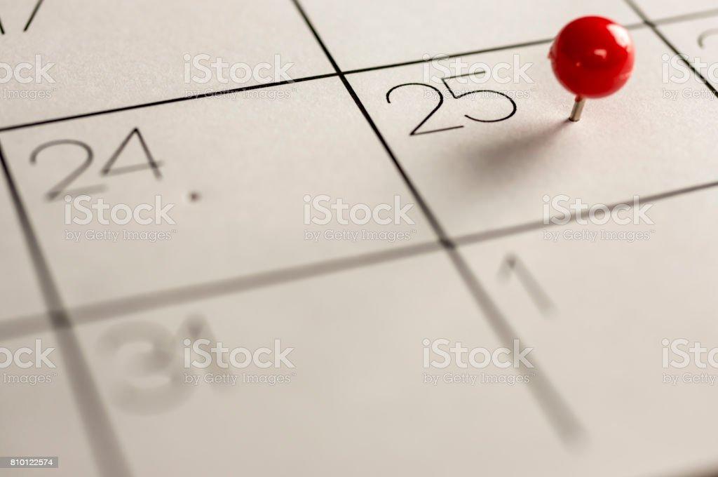 Christmas day marked on calendar stock photo