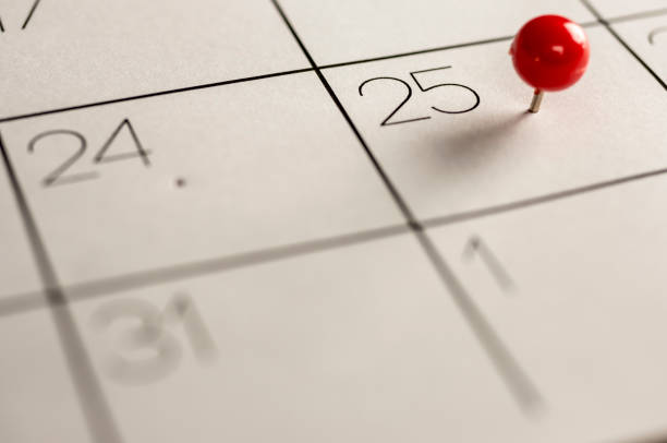 christmas day marked on calendar - countdown stock photos and pictures
