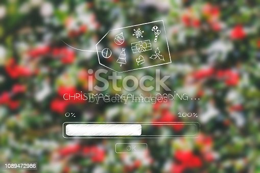 Christmas sales concept: promotion loading progress bar and price tag with themed icons