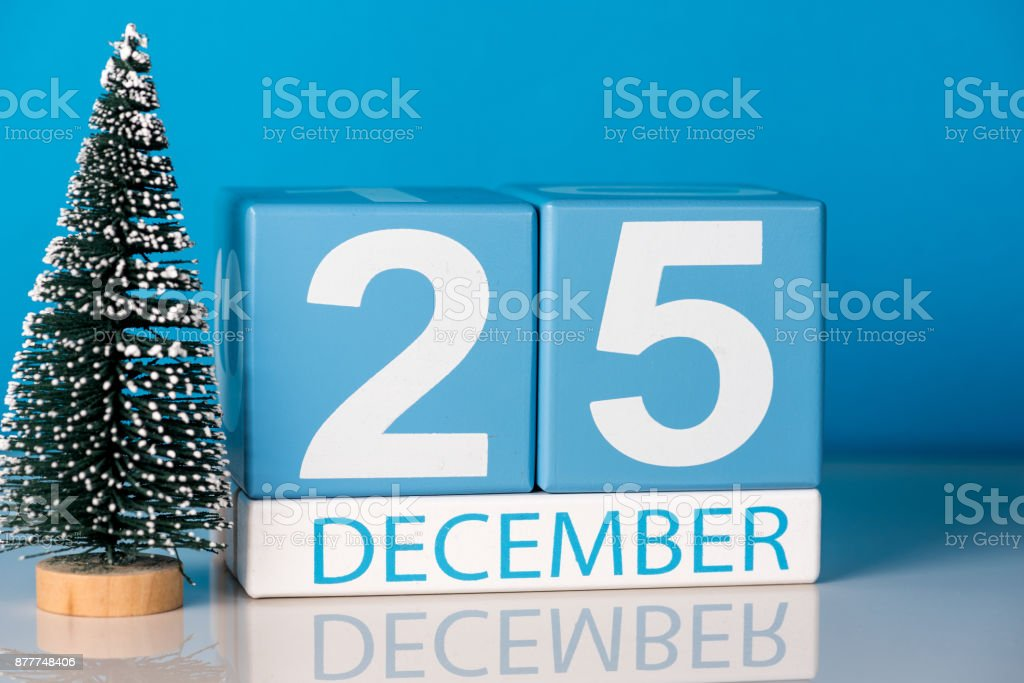 Christmas December 25th Day 25 Of December Month Calendar With Little Christmas Tree On Blue Background Winter Time New Year Concept Stock Photo Download Image Now Istock