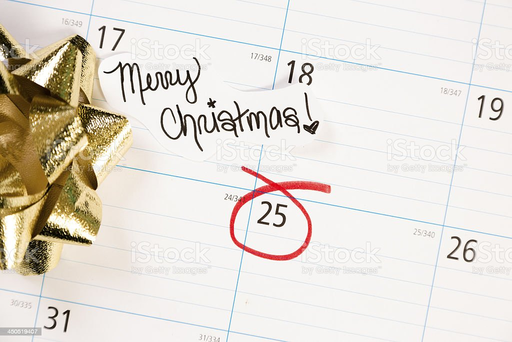 Christmas:  December calendar with focus on the 25th. royalty-free stock photo