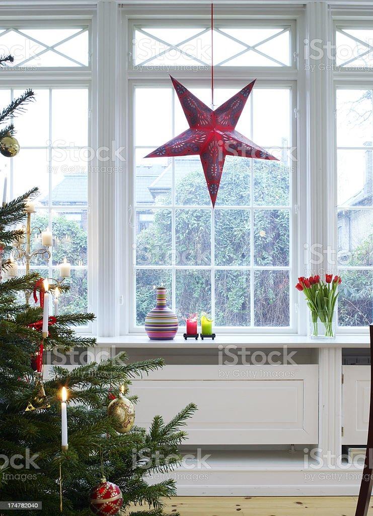 Christmas decor inside of a house stock photo