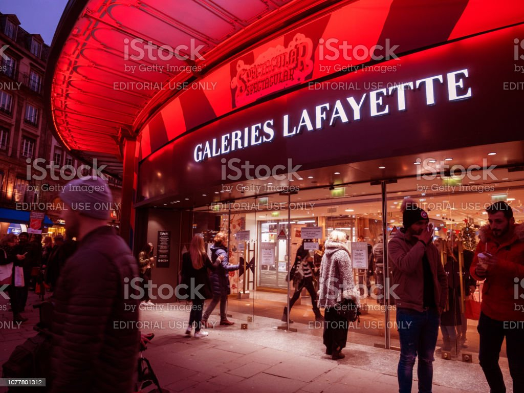 Christmas decorated facade of Galeries Lafayette in France stock photo