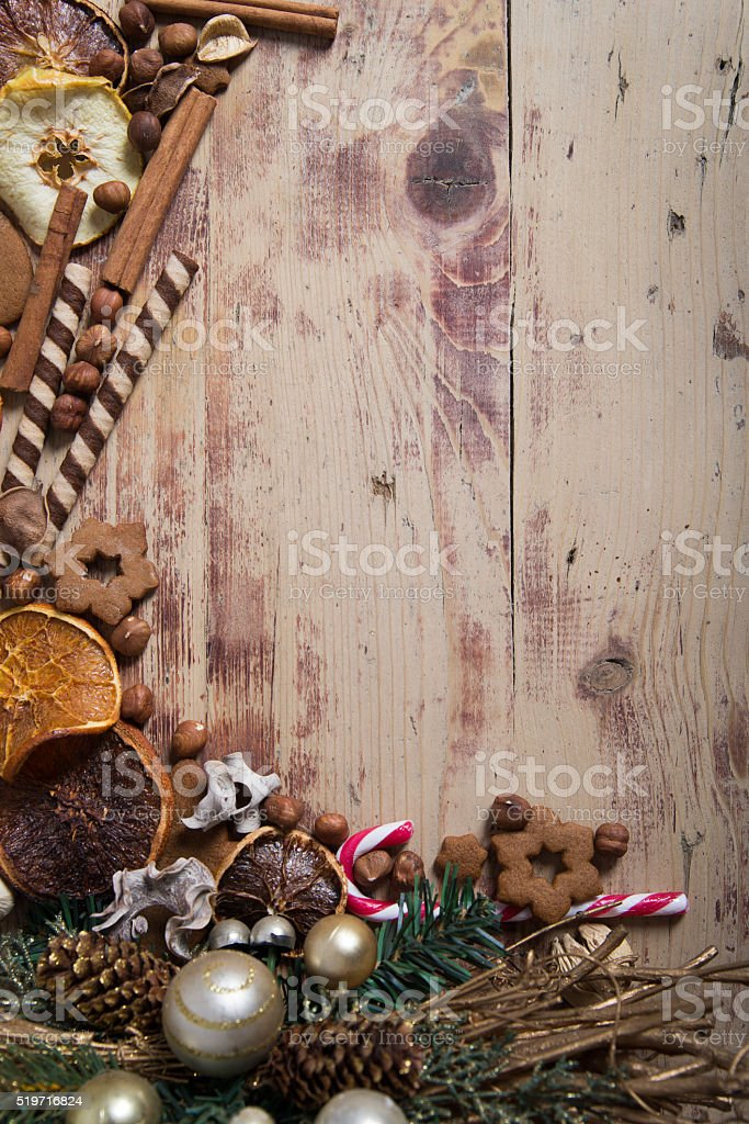 Christmas decorated frame. stock photo