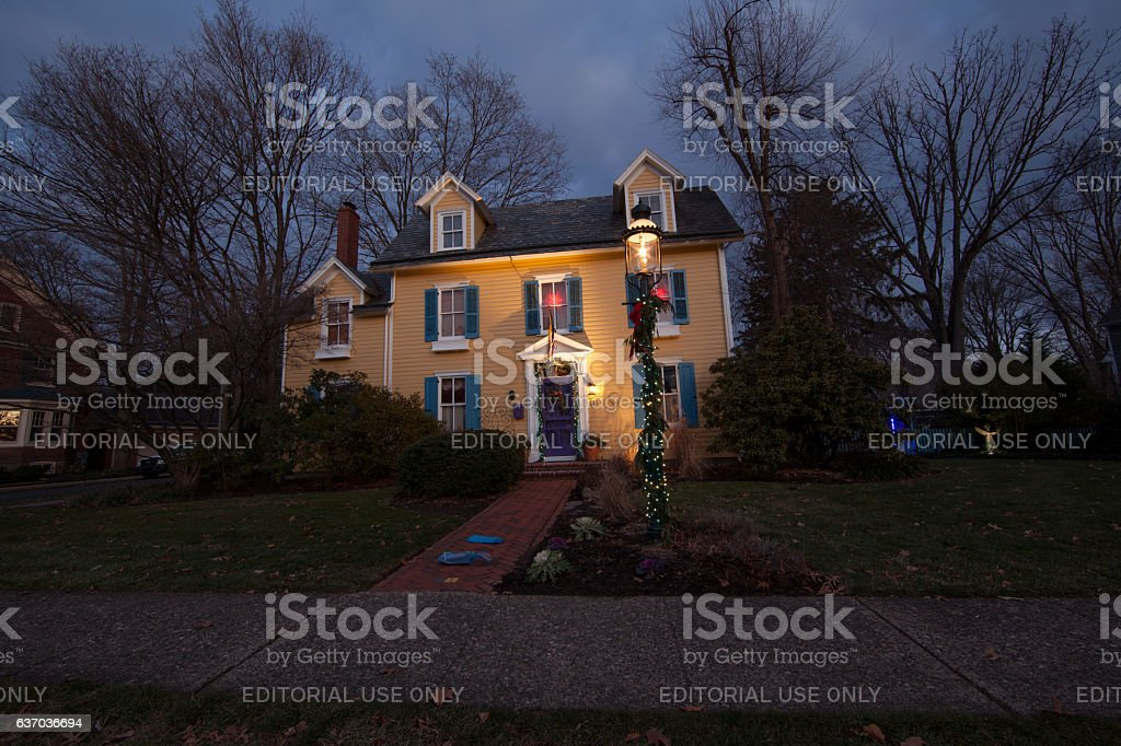 Christmas decorated house stock photo