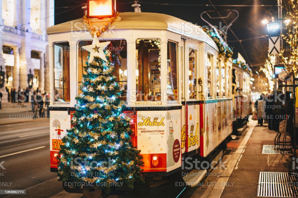 Christmas decorated tram on the Vienna Ring line stock photo