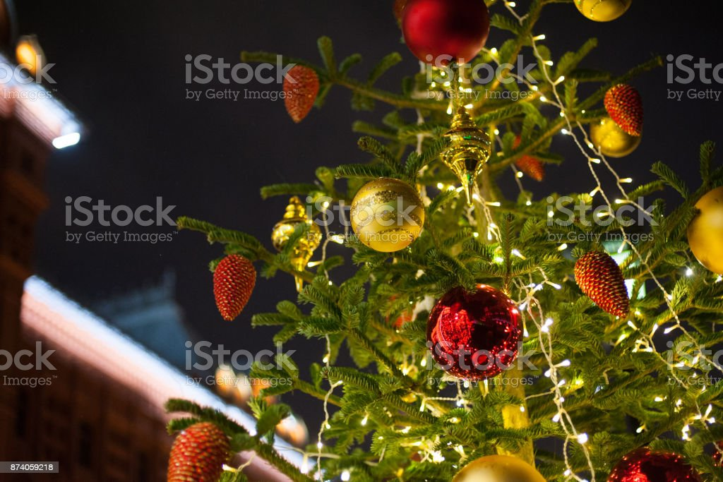 Christmas decorated tree stock photo
