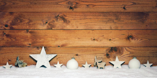 Christmas decoration against rustic background stock photo