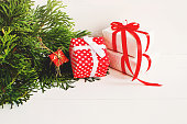 istock Christmas decoration and present on white background 490432324