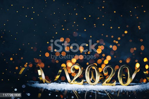 istock Christmas decoration and snow with bright background and copy space 1177261835