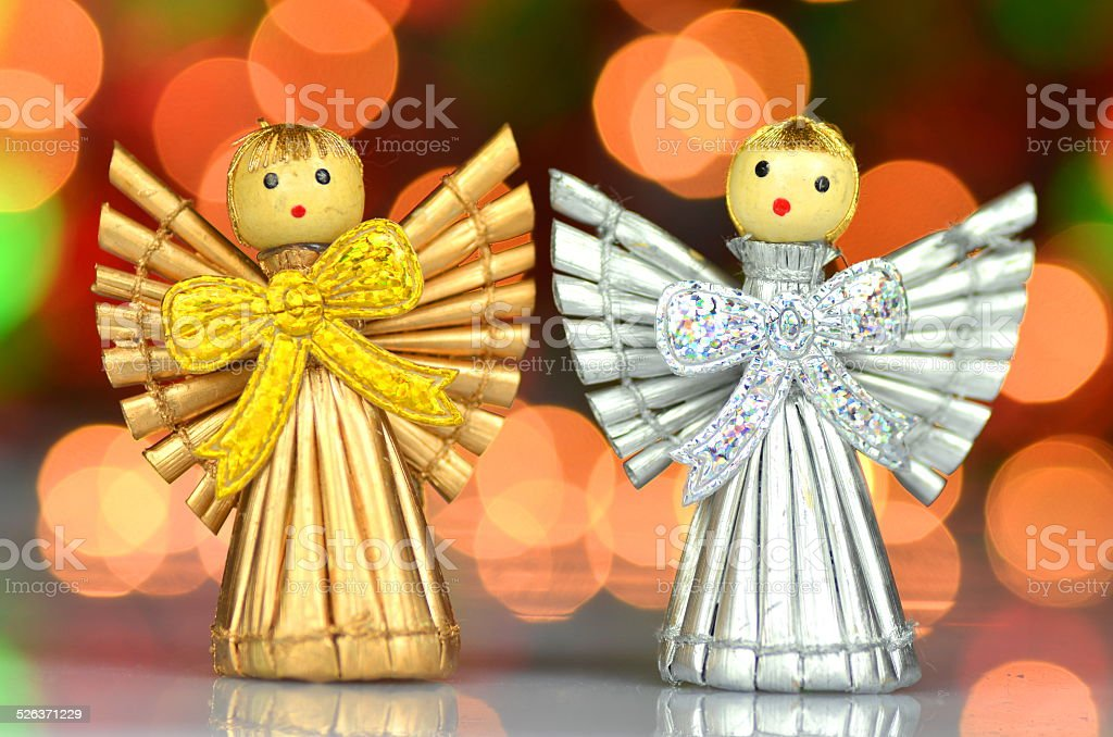 christmas decoration, angels against bokeh background stock photo