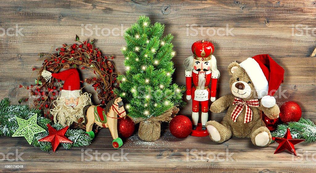 Christmas Decoration Antique Toys Teddy Bear Nutcracker Stock Photo Download Image Now Istock