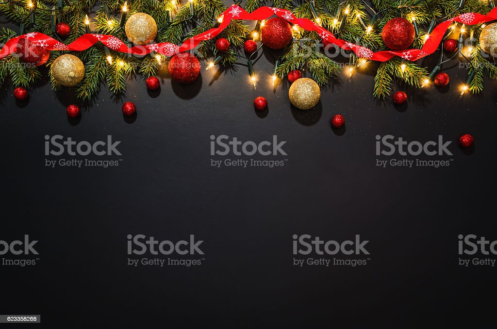Christmas Decoration Background Over Black Chalkboard Stock ...