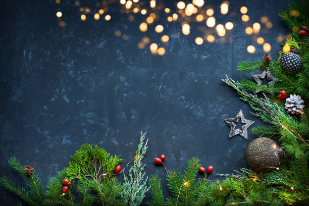 kerst decoratie achtergrond - december stockfoto's en -beelden