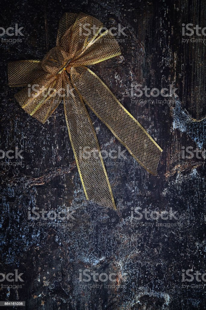 Christmas Decoration Background with Golden Bow royalty-free stock photo