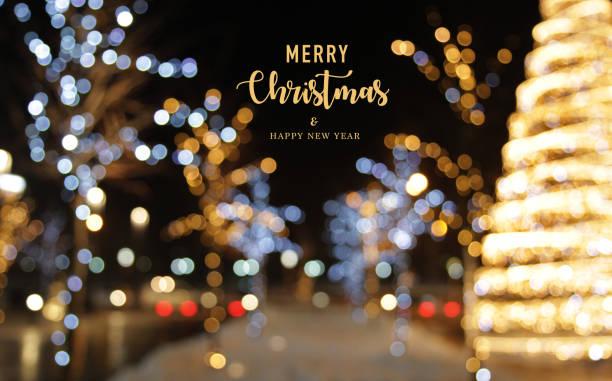 weihnachten dekoration hintergrund mit lichter leuchten - weihnachtsstadt stock-fotos und bilder