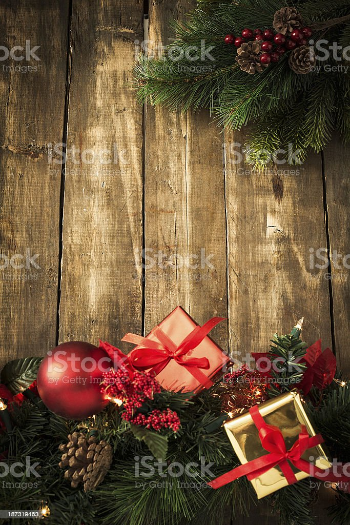 Christmas Decoration Background with Ornaments royalty-free stock photo