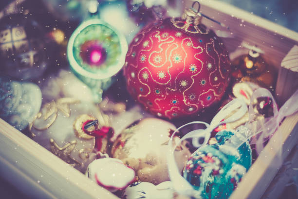 christmas decoration balls in a wooden box - vintage ornaments stock photos and pictures