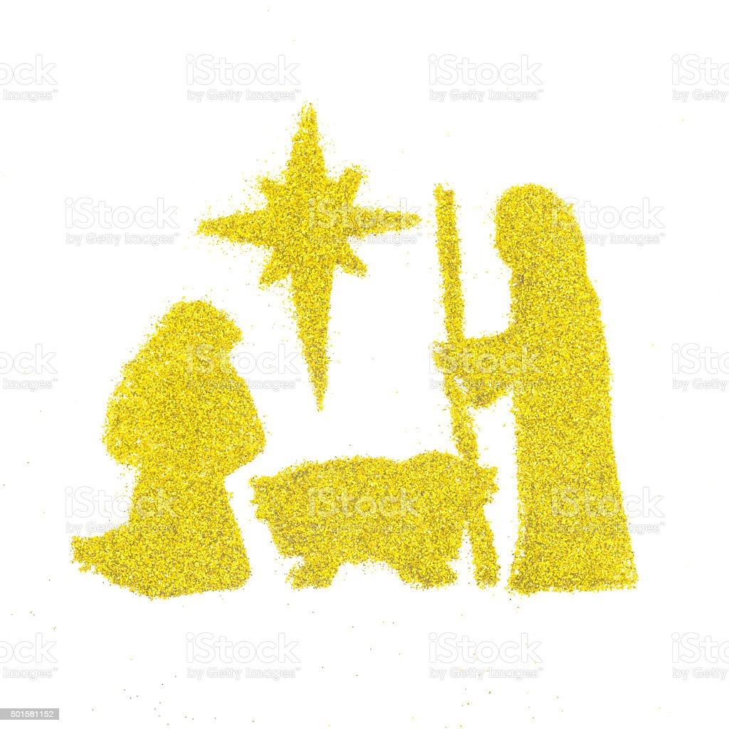 Christmas decoration birth of Jesus isolated on white background