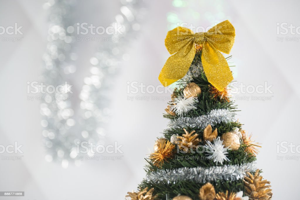 Christmas decoration. Bright background with bokeh lights stock photo