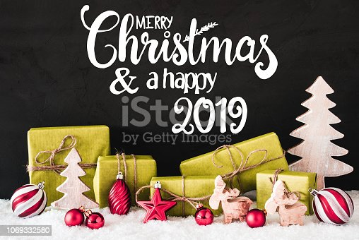 istock Christmas Decoration, Calligraphy Merry Christmas And A Happy 2019 1069332580