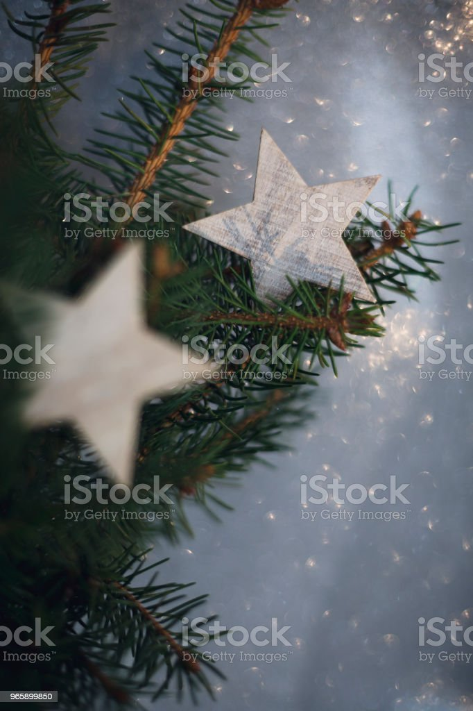 Christmas decoration card winter tree stock photo