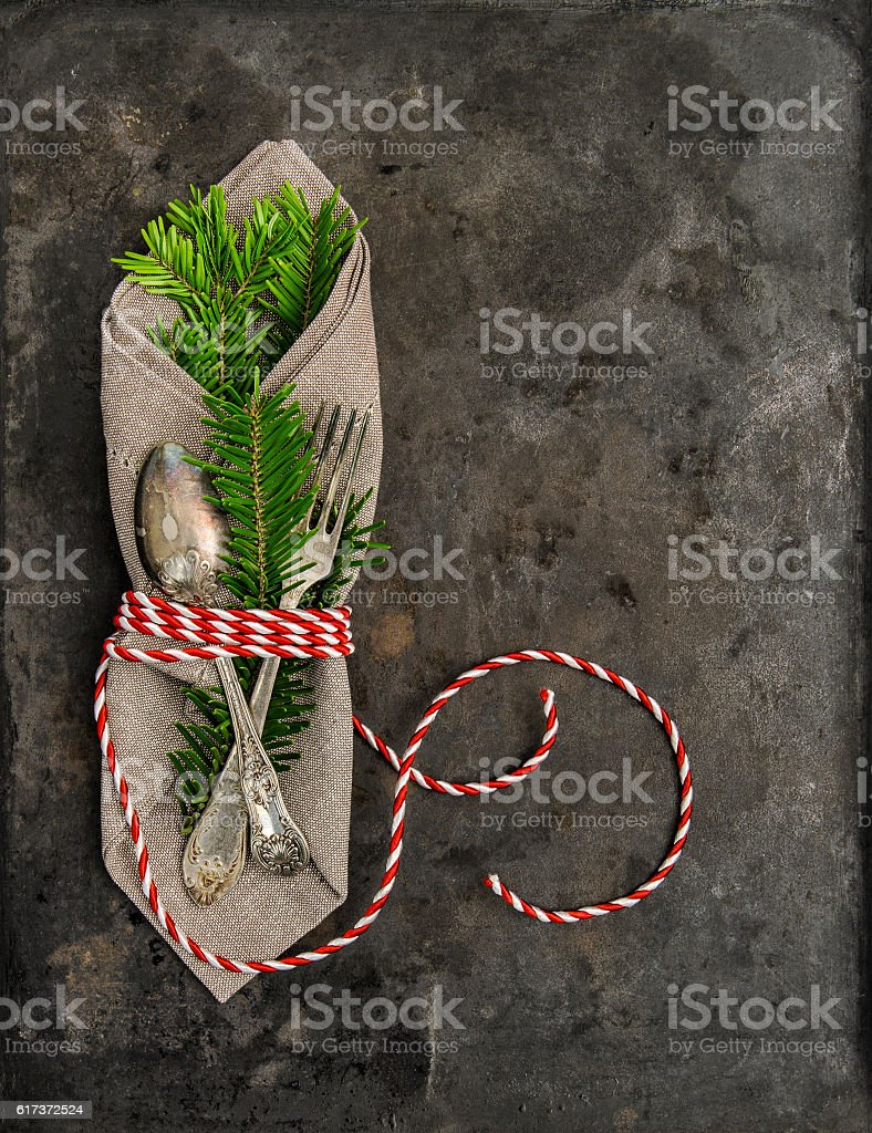 Christmas  decoration christmas tree brunches grungy background stock photo