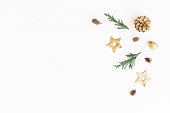 istock Christmas decoration, cypress branches, pine cones. Flat lay 628287108