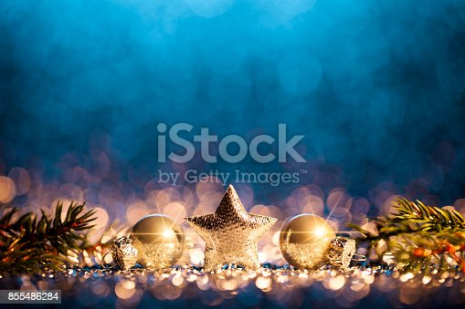 istock Christmas Decoration - Defocused Gold Blue Bokeh 855486284