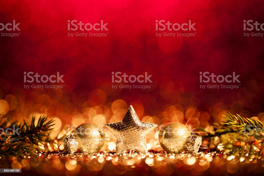 Christmas Decoration - Defocused Gold Red Bokeh stock photo