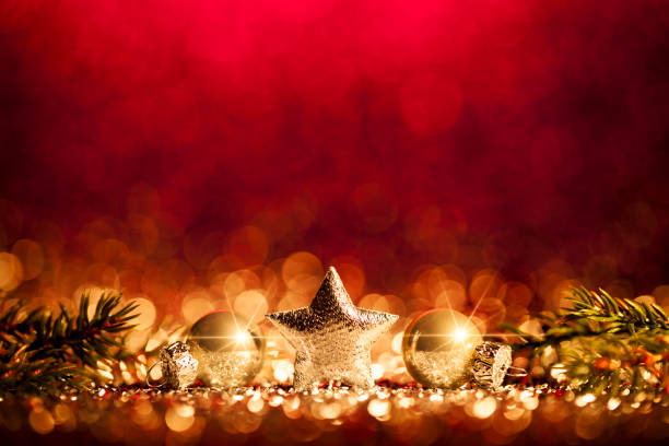 christmas decoration - defocused gold red bokeh - christmas stock photos and pictures