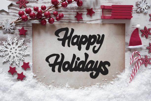 Christmas Decoration, English Calligraphy Happy Holidays, Snow stock photo