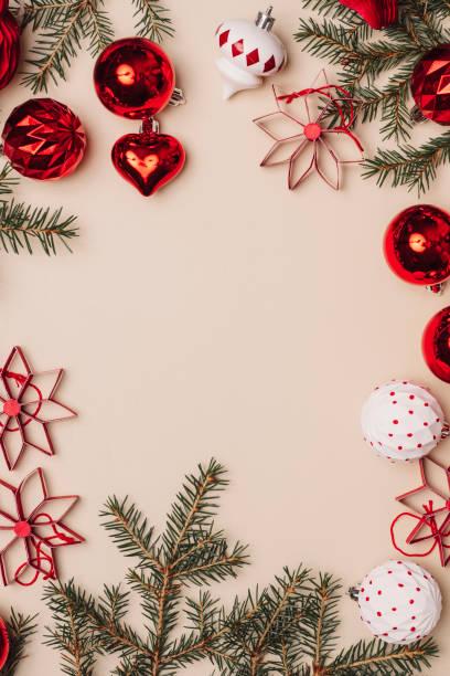 Marco de decoración de Navidad fondo desde arriba overhead - foto de stock