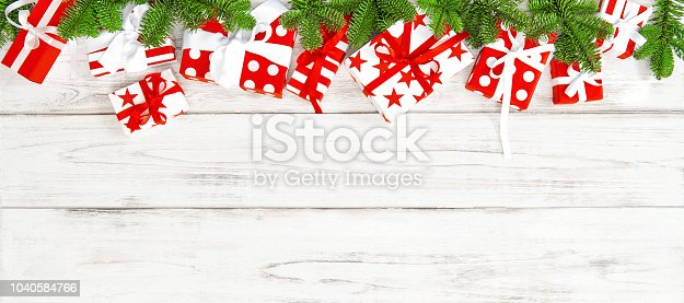 istock Christmas decoration gift boxes Holidays banner 1040584766