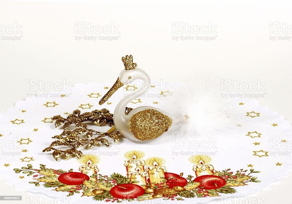 Christmas decoration - gold swan royalty-free stock photo