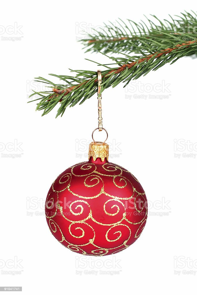 Christmas decoration hanging on a tree stock photo