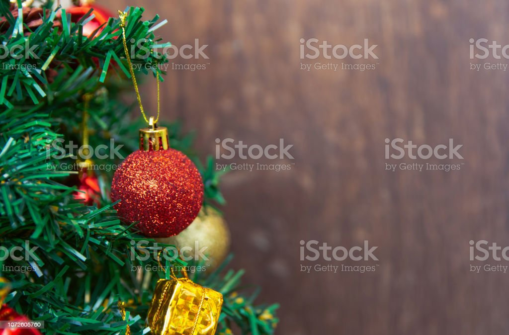 Christmas Decoration Hanging Red Balls On Pine Branches