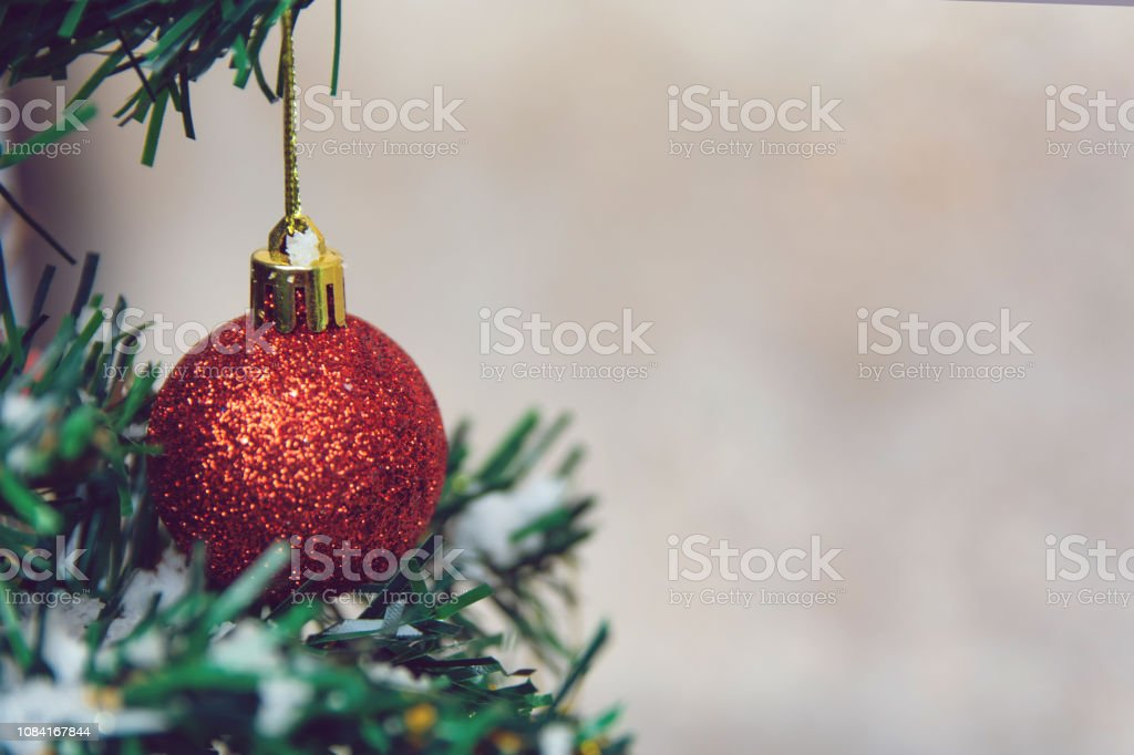 Christmas Decoration Hanging Red Balls On Pine Branches Christmas Tree Garland And Ornaments With Copy Space Stock Photo Download Image Now
