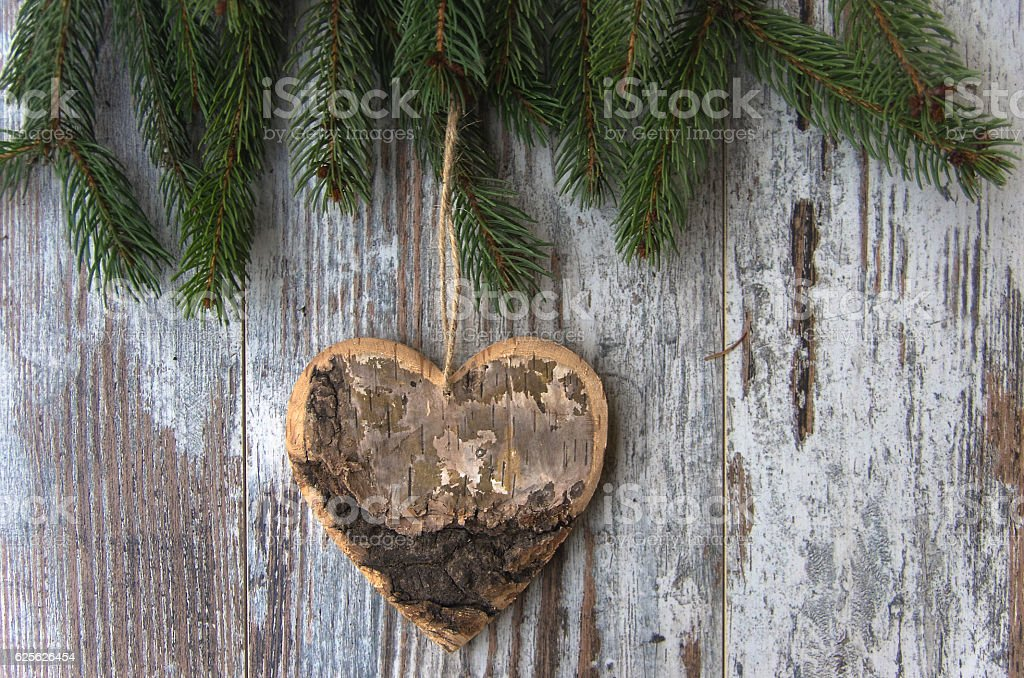 Christmas decoration, heart - conifer - fir tree stock photo