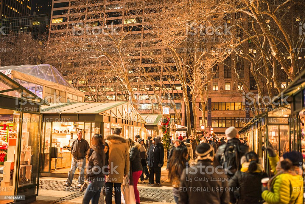Bryant Park Christmas Market.Christmas Decoration In Bryant Park Stock Photo Download