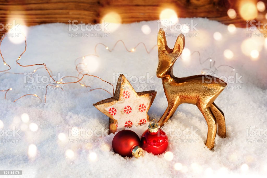 Christmas decoration in snow royalty-free stock photo