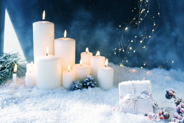 Christmas decoration in snowy winter night stock photo